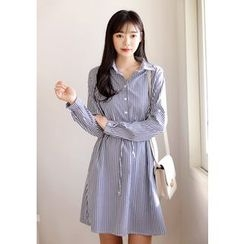 DEEPNY - Drawstring-Waist Striped Shirtdress