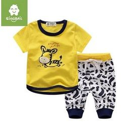 Endymion - Kids Set : Printed Short-Sleeve T-shirt + Sweatpants