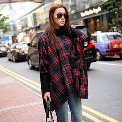 SO Central - Contrast Trim Oversized Plaid Cape