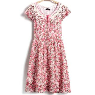 9mg - Ruffled-Sleeve Lace-Collar Floral Dress