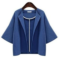 AGA - Elbow Sleeve Open Front Cropped Jacket