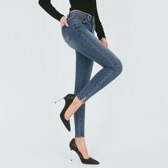 DABAGIRL - Slit-Hem Washed Skinny Jeans