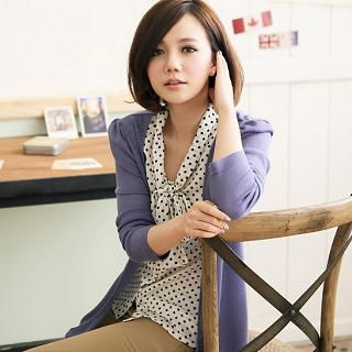Inset Dotted Blouse Cardigan