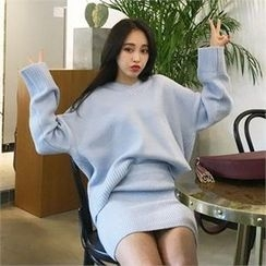 QNIGIRLS - Set: V-Neck Sweater + Rib-Knit Skirt