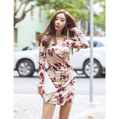 GUMZZI - Wrap-Front Floral Pattern Dress