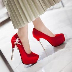 JY Shoes - Rhinestone Platform Stilettos