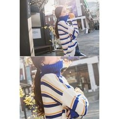 migunstyle - Turtle-Neck Striped Knit Top
