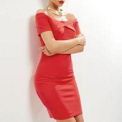 Obel - Plain Off Shoulder Short Sleeve Dress