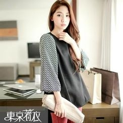 Tokyo Fashion - Puff Patterned 3/4-Sleeve Top