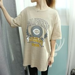 Dodostyle - Printed Round-Neck Long T-Shirt