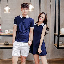 Azure - Couple Matching Contrast Trim Short Sleeve Polo T-Shirt / Sleeveless Shirt Dress