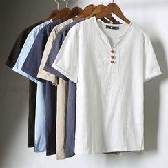 Titular - 纯色V领短袖T恤