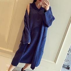 Asally - Set: Long Knit Jacket + Knit Sleeveless Dress
