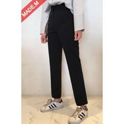 MICHYEORA - Flat-Front Straight-Cut Pants