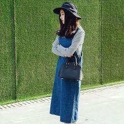 Forest Girl - Denim A-line Midi Jumper Dress