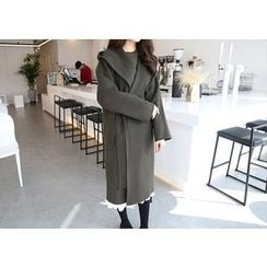 Hello sweety - Hooded Open-Front Wool Coat