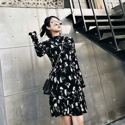 Jack Grace - Long-Sleeve Floral Chiffon Dress