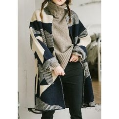 GOROKE - Patterned Open-Front Long Cardigan