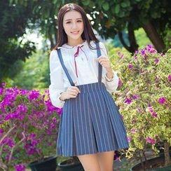 Jade Dragon - Striped Double-Breasted Blazer / Striped Suspender Skirt