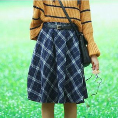Sens Collection - Check Pleated A-line Midi-Skirt