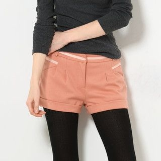 YesStyle Z - Ribbon-Trim Pleated Cuffed Shorts