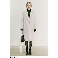 QQQQ - Single-Button Wool Blend Long Coat