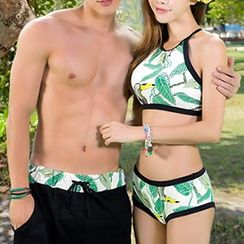 Anfory - Couple Matching Floral Print Tankini / Swim Shorts