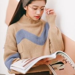 SUYISODA - Color Block Mock Neck Chunky Sweater