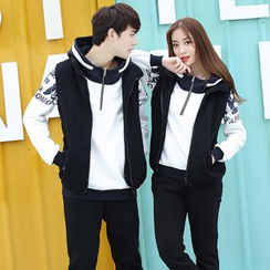 Igsoo - Couple Matching Set: Patterned Hoodie + Vest + Sweatpants