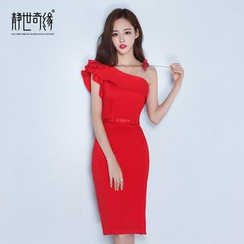 Fantasy Bride - Single Shoulder Party Sheath Dress