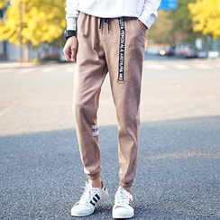 Besto - Drawstring Cuffed Cotton Pants