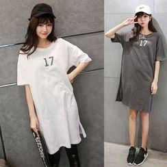 伊之恋 - 数字短袖T恤裙