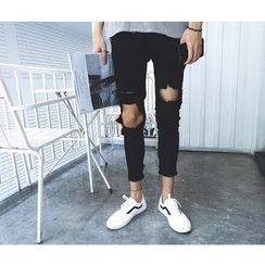 Mr. Cai - Distressed Slim-Fit Cropped Jeans