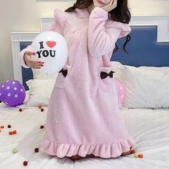 Clover Dream - Bow Accent Frill Trim Pajama Long Sleeve Dress