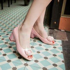 Charming Kicks - 露趾饰珠粗跟低跟鞋