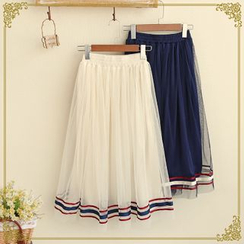 Fairyland - Stripe Trim Midi Tulle Skirt