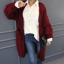 DANI LOVE - Wool Blend Long Cable-Knit Cardigan