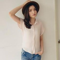 Tokyo Fashion - Short-Sleeve Tulle-Collar Dotted Blouse