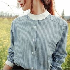 EFO - Long-Sleeve Contrast-Trim Striped Blouse