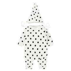 MOM Kiss - Baby Set: Bow Accent Dotted One-Piece + Dotted Hat