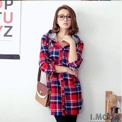 OrangeBear - Hooded Plaid Shirt