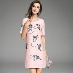 Y:Q - Mouse-Embroidered T-Shirt Dress