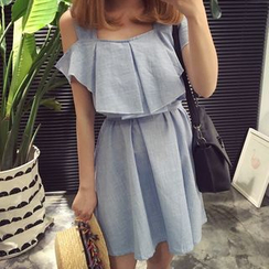 YUKISHU - Off Shoulder Ruffle Trim Short Sleeve Mini Dress