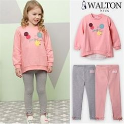 WALTON kids - Girls Set: Chiffon-Panel Printed Top + Bow-Detail Leggings