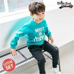BILLY JEAN - Boys Set: Lettering Brushed-Fleece Sweatshirt + Band-Waist Pants