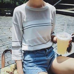 Cloud Nine - Striped Knit 3/4 Sleeve T-Shirt