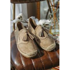 GOROKE - Tasseled Faux-Suede Espadrille Loafers