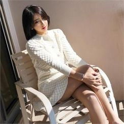 LIPHOP - Set: Button Front Cardigan + A-Line Knit Skirt