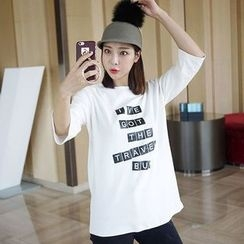 Seoul Fashion - 3/4-Sleeve Lettering T-Shirt