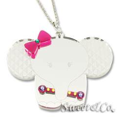 Sweet & Co. - Rainbow Crystal Sweet Baby Elephant Silver Long Necklace